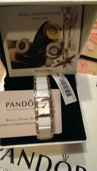 Pandora Facets Damenuhr Vergoldet Diamant 812022wh Garantiekarte Uvp394€ Bild