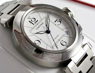 Armbanduhr W31074m7 Pasha De Cartier Automatik Weißes Ziffernblatt Stahl Bild