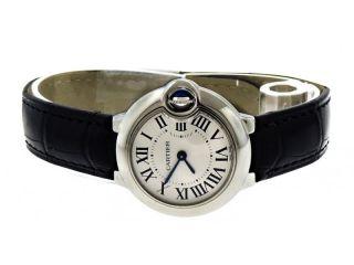 Cartier W69018z4 Ballon Bleu 28mm Damen Armbanduhr Schwarzes Leder Bild