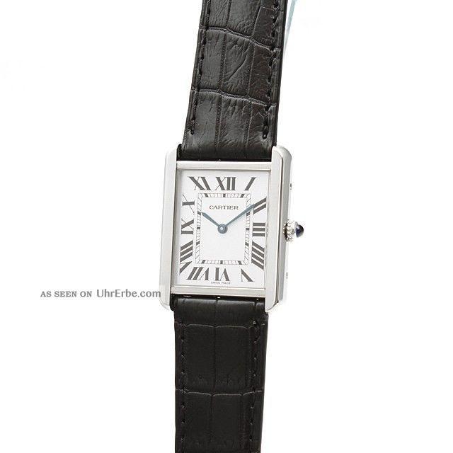 Damen Herren Armbanduhr Cartier W5200003 Tank Solo 34mm Groß Schwarz Leder Stahl Armbanduhren Bild