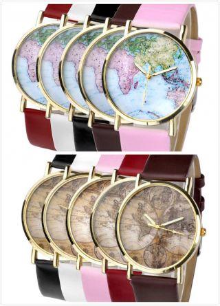 Viel Modell Klassisch Damen Herrn Retro Weltkarte Kunstleder Armband Quarzuhr Bild