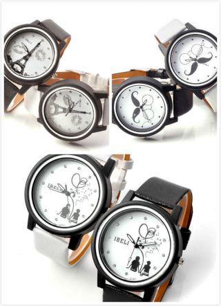 Schwarz Weiß Pu Leder Herrn Damen Armbanduhr Leicht Quarzuhr Trend 3 Mustern Bild