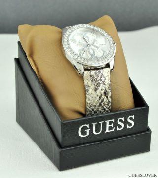 Uhr Uhren Guess Armbanduhr Damen Pewter Leder Quarz Deu Bild