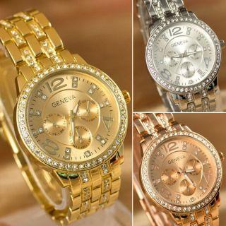 Bürokleidung Uhren Genf Quarz Edelstahl Armbanduhr Herrenuhr Damenuhr Mit Strass Bild