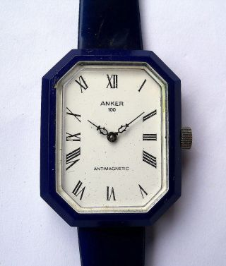 Alte Armbanduhr Mechanisch Analog Achteckig Anker 100 Wind Up Watch 1970er Bild