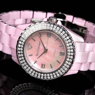 Yves Camani Nancy Damenuhr Pink Keramik Edelstahl Zirkonia Kristalle B - Ware Bild