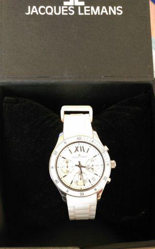 Jacques Lemans Damenuhr Armbanduhr Chronograph Rome Weiß - Wie Bild
