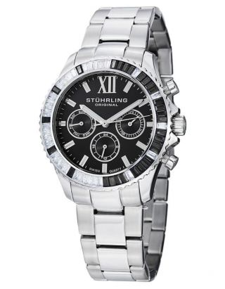 Armbanduhr Damen Stuhrling 591 02 Vogue Coronia Analog Schweizer Quartz Schwarz Bild