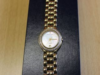 Hart Vergoldet Armbanduhr Damenuhr Maurice Lacroix Perlmutt Ziffernblatt Wie Bild