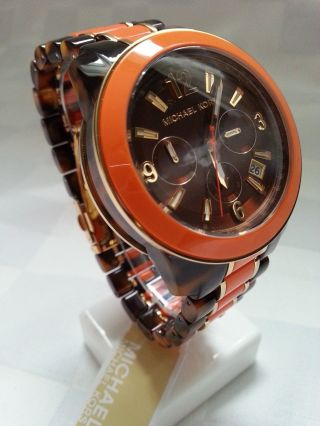 Michael Kors - Damenuhr - Mk - Chronograph - Horn Optik / Orange Bild