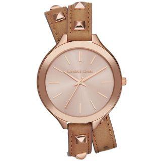 Michael Kors Uhr Mk2299 Slim Runway Double - Wrap Rosegold Damen Leder Armbanduhr Bild