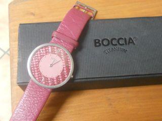 Boccia Titanium Damen Armbanduhr Altrosa Lederarmband Superslim Bild
