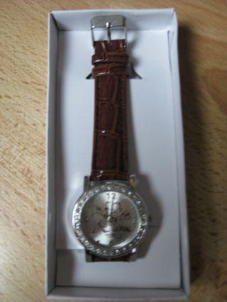 Armbanduhr Damenuhr Damen Uhr Braun Glitzersteinchen Am Gehäuse Glas Kristalle Bild