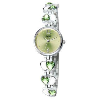 Kimio Fashion Armbanduhr Damen Uhr Trend Edelstahl Strass Herzen Grün B - Ware Bild