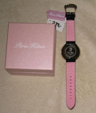 Schicke Damenuhr Paris Hilton Ph.  13575jsg/22 Strass Kroko - Armband Uvp 299€ Bild