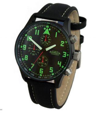 Astroavia 42 Mm Chronograph N 4 Bl Fliegeruhr Herrenuhr Uhr Analog Edelstahl Bild