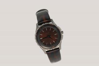 Dkny Donna Karan Ny Damenuhr / Damen Uhr Leder Braun Strass Silber Ny8705 Bild