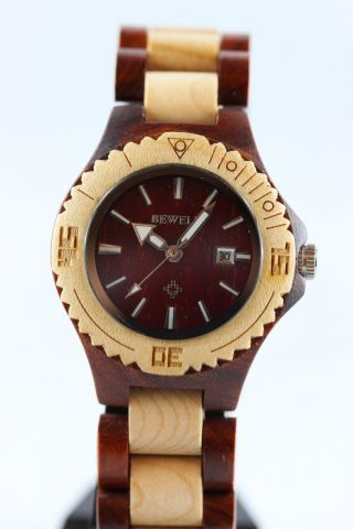 Bewell Holzuhr,  Damenuhr,  Datum,  Ahorn - Sandelholz,  A - Ware,  Armbanduhr,  Geschenk Bild