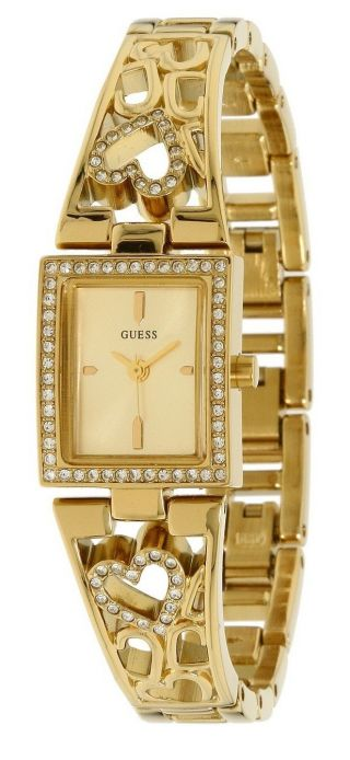 , Guess Damen - Armbanduhr Gold Edelstahl Schmuck Strass Herze Bild