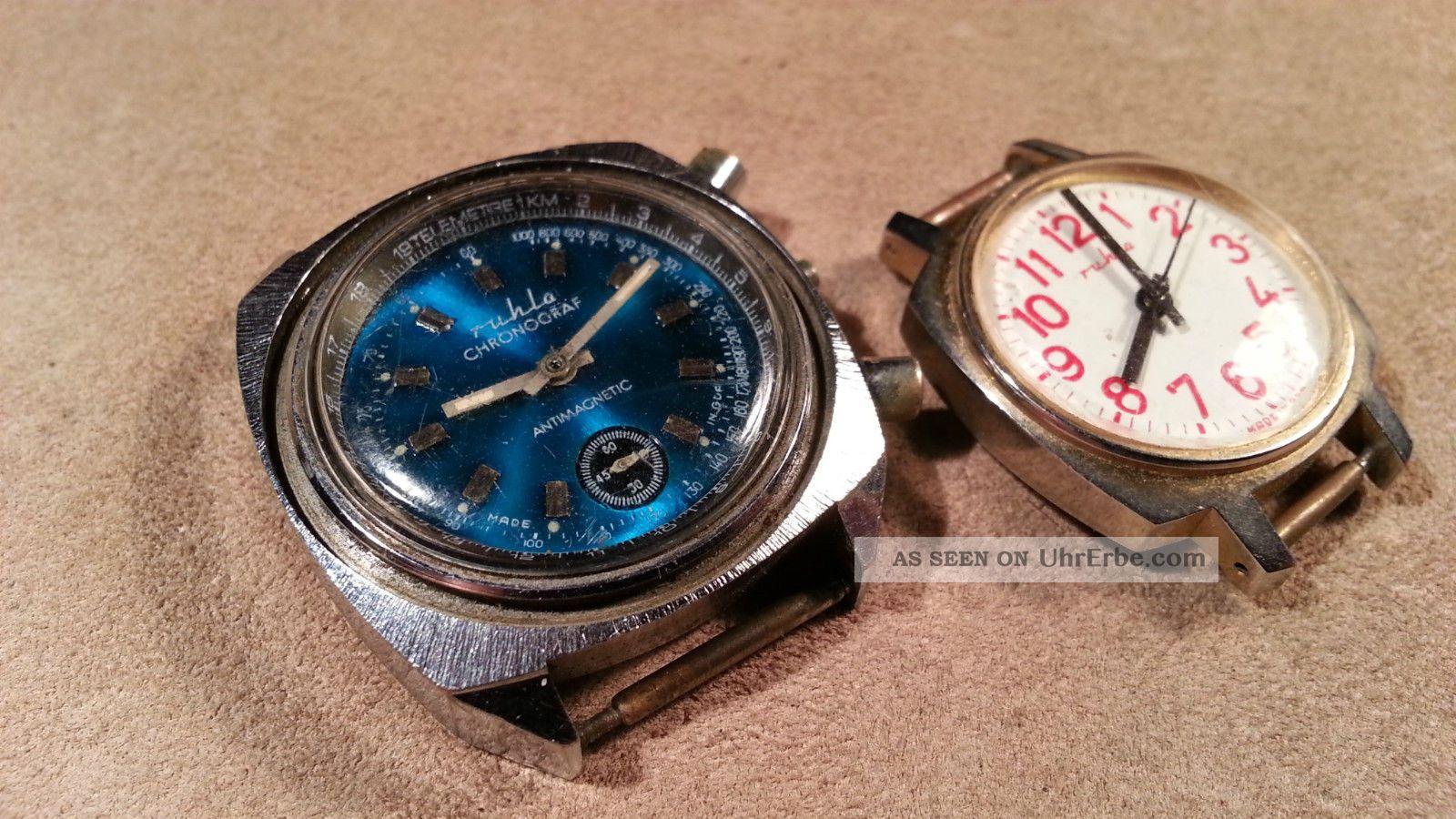 2 Vintage Ruhla Taucheruhr Chronograph Diver Made In Ddr Fuer Bastler Armbanduhren Bild