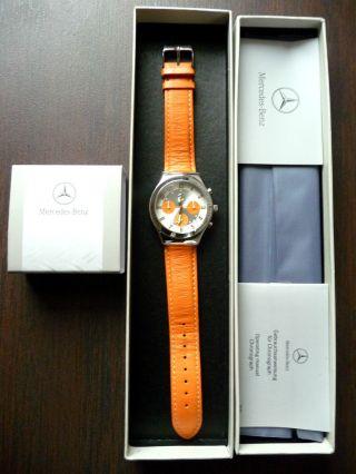 Org.  Mercedes Benz Drivers Line Armbanduhr Uhr Sport Chronograph Orange Ovp Rar Bild