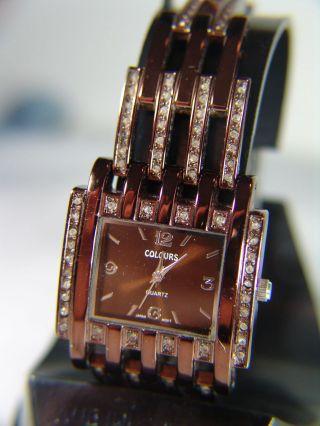 Armbanduhr Colours 3,  2 Cm Braun Metallic Neuwertig Mit Neuer Batterie Bild