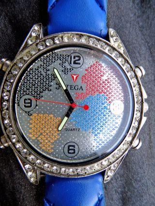 Hip Hop Uhr,  Tega,  World Design,  Blau /silber,  Strass Bild