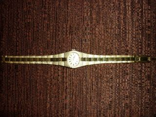 Antike Goldfarbene Damenuhr Dugena Bild