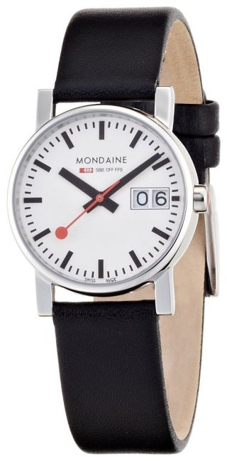 Mondaine A669.  30305.  11sbb Basic Große Datum Damenuhr 30mm Schwarz Lederband Bild