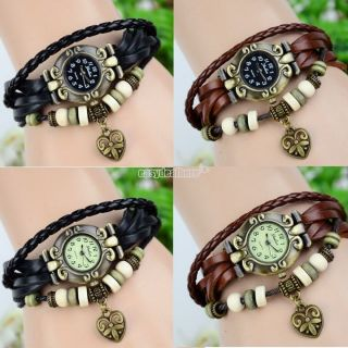 Damen Herz Weave Wrap Around Leder Armband Retro Frau Quarz - Armbanduhr Bild