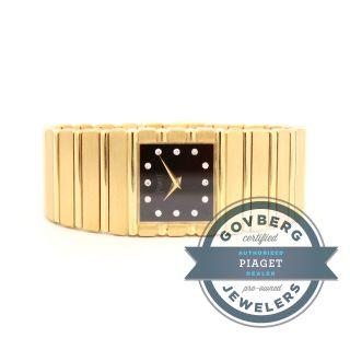 Armbanduhr Piaget Gelbgold Polo 18kt Quarz Uhr Ziffernblatt Schwarz Diamant Bild