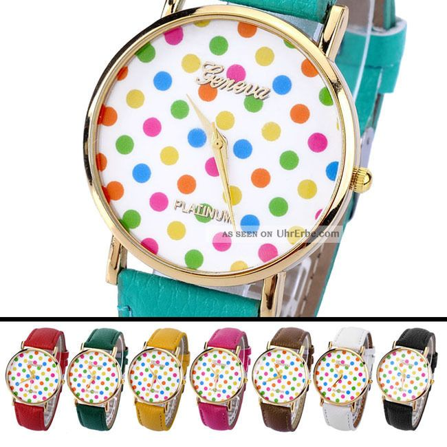 Vintage Modisch Analog Pu Leder Quartzuhr Armbanduhr Polka Dots Kinder Armbanduhren Bild
