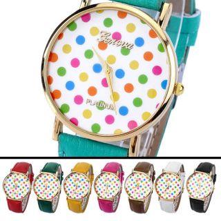Vintage Modisch Analog Pu Leder Quartzuhr Armbanduhr Polka Dots Kinder Bild