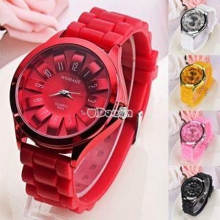 Damen Frauen Farbwahl Rund Silikon Trenduhren Unisex Uhr Gel Jelly Armbanduhr Bild