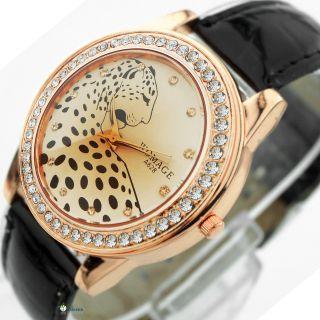 Neue Damenuhren Watch Leopard Kristall Analog Quarz Armbanduhr Analog Kunstleder Bild