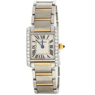 Cartier 2384 Tank 0.  90kt Diamant Einfassung Stahl 18k Gelbgold Quartz Damenuhr Bild