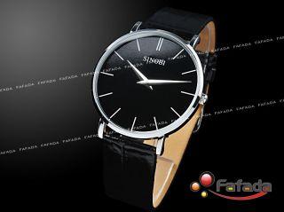 Sinobi Schwarz Damenuhr Herren Armbanduhr Herrenuhr Quarz Uhr Slim Design Bild