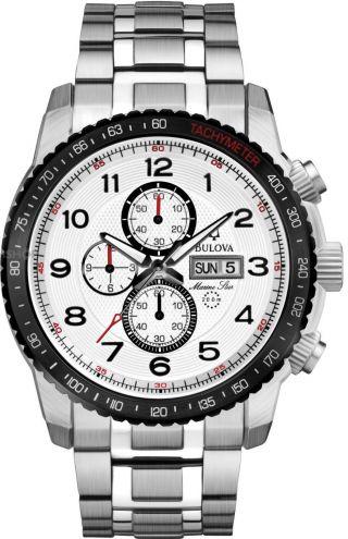 Herren Armbanduhr Bulova Marine Star Silber Edelstahl Chronograph Uhr 98c114 Bild