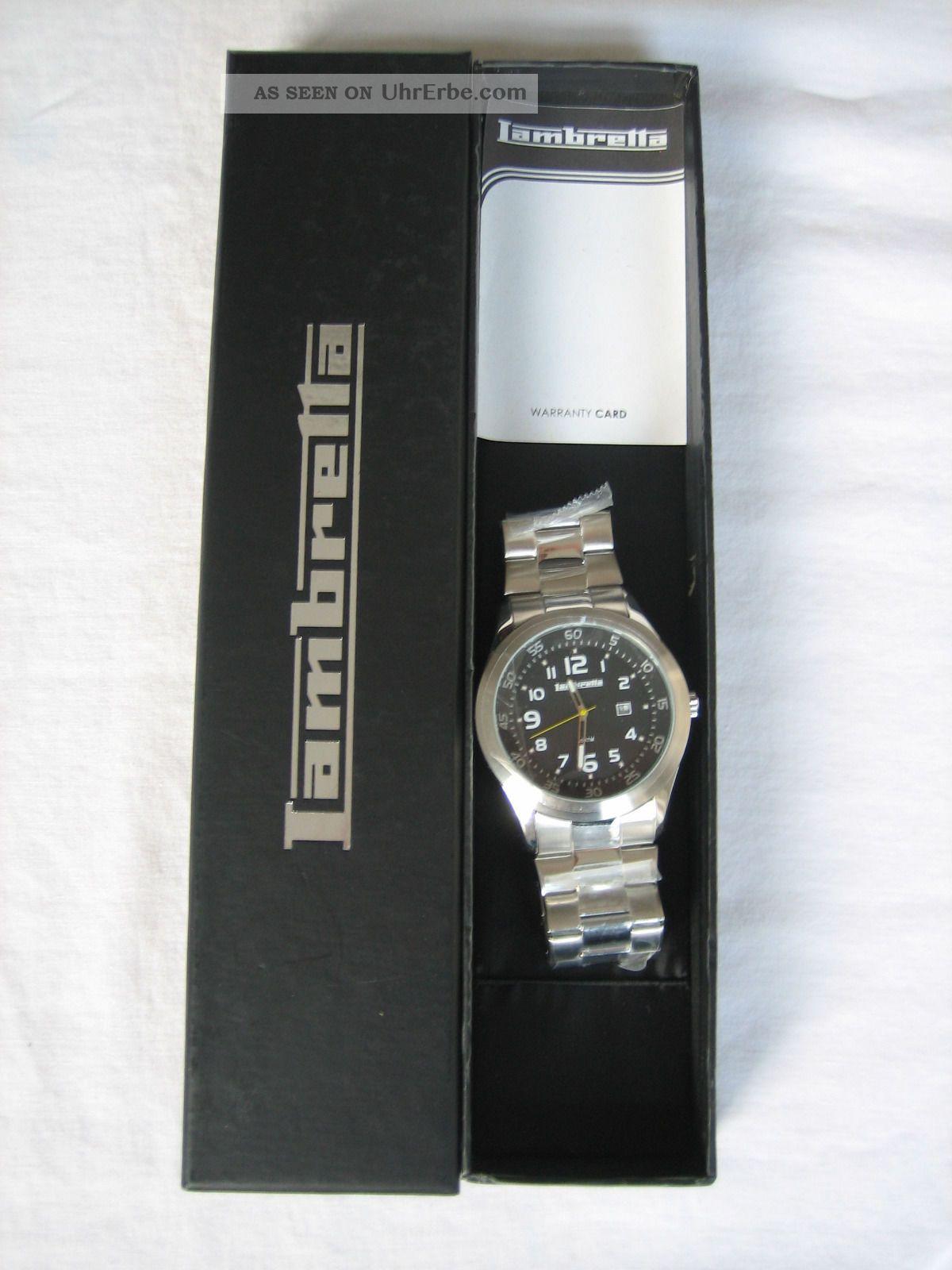 Herrenuhr Lambretta Silber Schwarzes Ziffernblatt Armbanduhren Bild