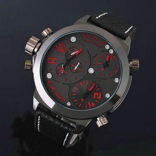 Zeiger Herren Uhr Mode Rot/orange Analog Quarz Leder Armbanduhr Mit 2 Zeitzonen Bild
