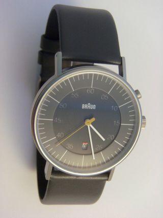 ° Braun Uhr Herrenuhr Bn0013gygyg Mit Licht Edelstahl,  Lederband Grau Bild