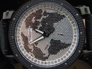 Herren Armbanduhr Jojino Joe Rodeo Jojo Weltkarte Auf Ziffernblatt Diamantuhr Bild