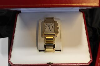 Cartier Tank Francaise Ewiger Kalender Chronograph Gold Bild