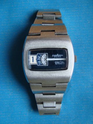 Pallas Para Digital Automatic Scheibenuhr Herrenuhr Armbanduhr Vintage Watch Bild