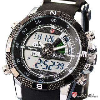 Shark Herrenuhr Led Sportuhr Alarm Stoppuhr Digital Armbanduhr Quarzuhr Schwarz Bild