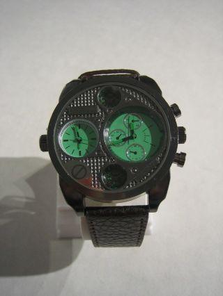 Jay Baxter - Xxl Herren Uhr Dualtimer Armbanduhr Echt Lederarmband Trucker A1147 Bild
