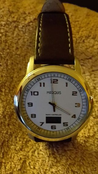 Elegante Marquis Herren Funkuhr - Armbanduhr Leder Braun Bild