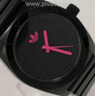 Adidas Santiago Herrenuhr / Damenuhr / Uhr Silikon Schwarz Silber Adh2897 Bild