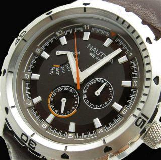 Nagelneu Nautica Armbanduhr Ncs 350 Braun Echt Leder Armband 100m Sehr SchÖn Bild