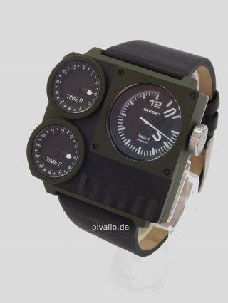 Diesel Herrenuhr / Herren Uhr 3 Zeitzonen Leder Xxl Oliv Grün Schwarz Dz7248 Bild